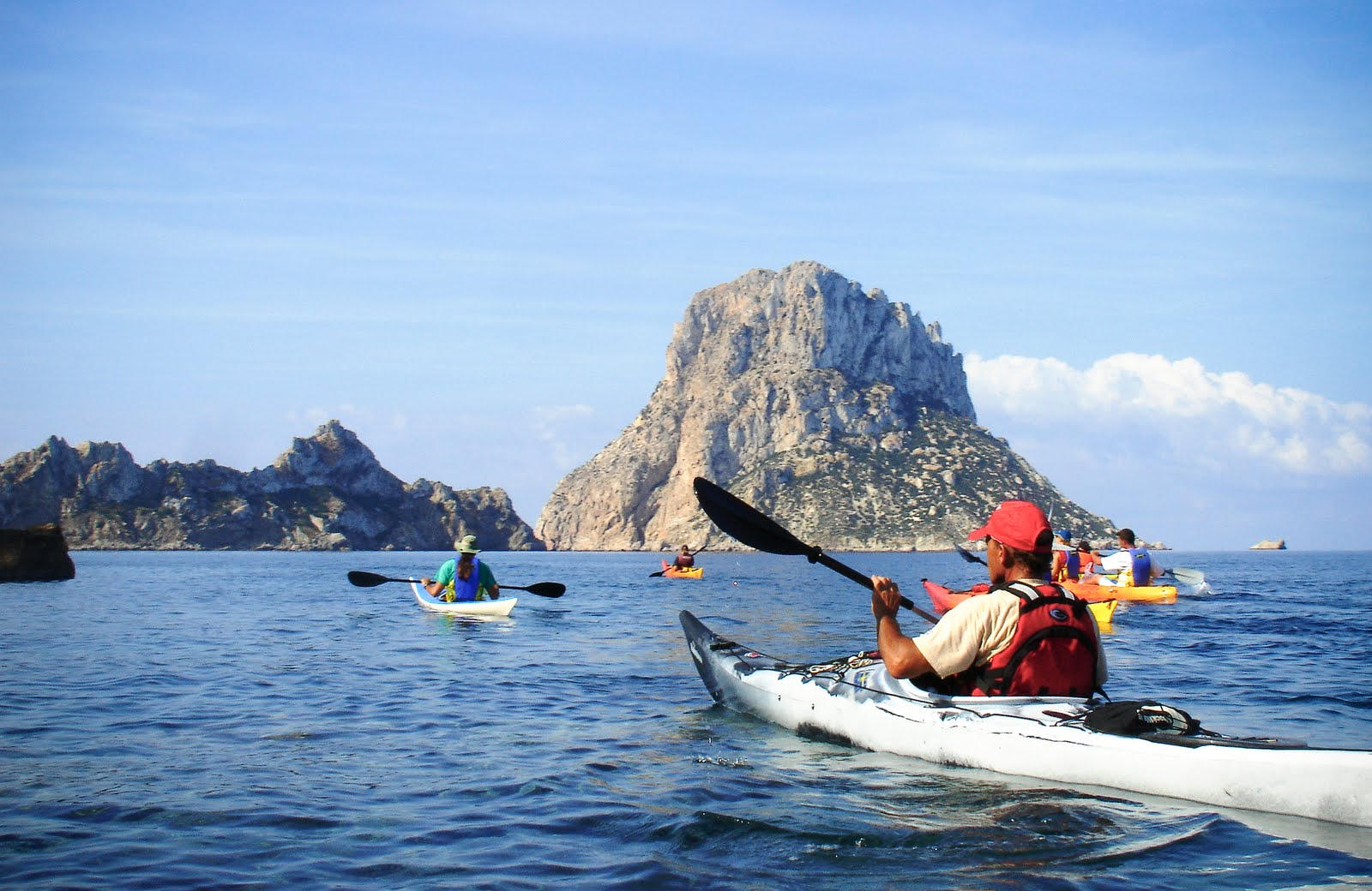 Kayaking in Ibiza in the Mediterranean Sea