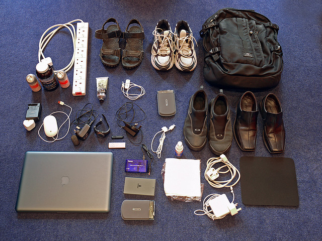 Items laid out for the suitcase