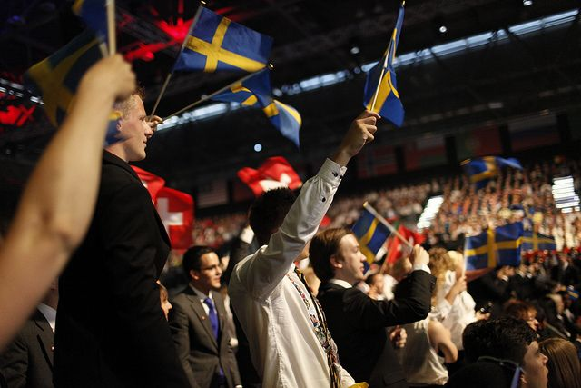For those of you watching in black and white, Sweden are in the blue and yellow, while Switzerland are in the red