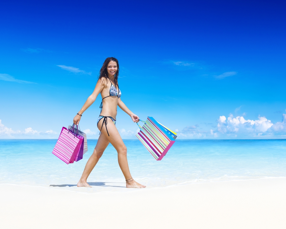 Shopping on a beach