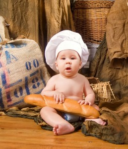 baby with bread
