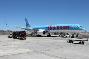 Thomson 757 on the tarmac in Boa Vista, Cape Verde