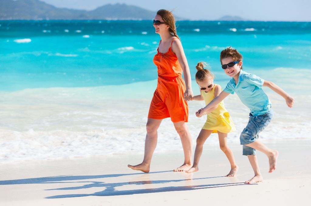 Mother and Kids on a Caribbean holiday