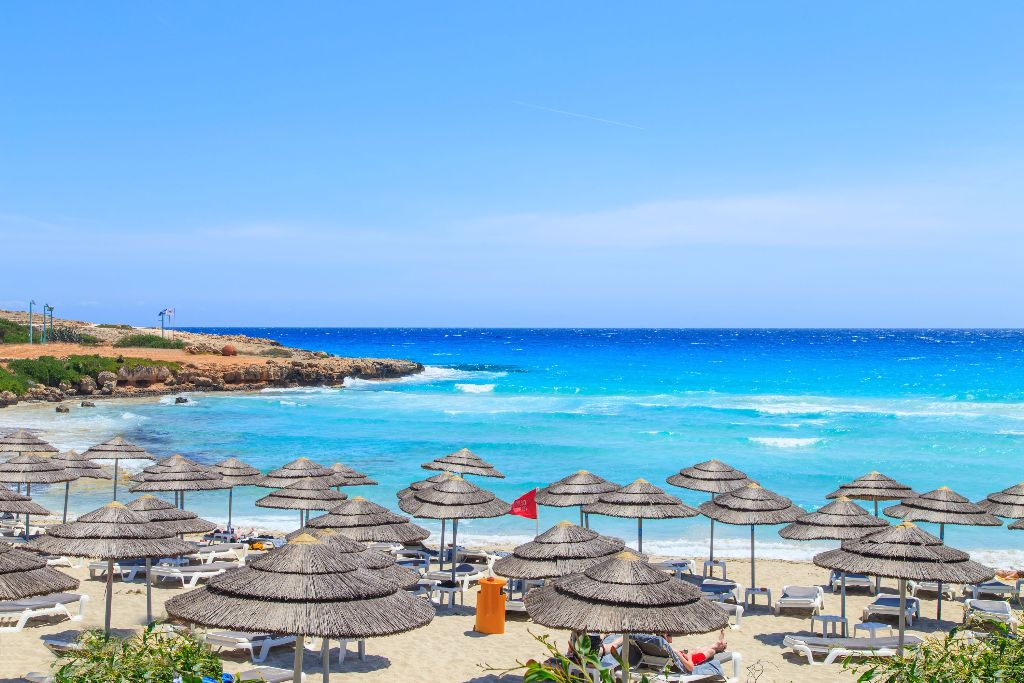 A view of a azzure water and Nissi beach in Aiya Napa