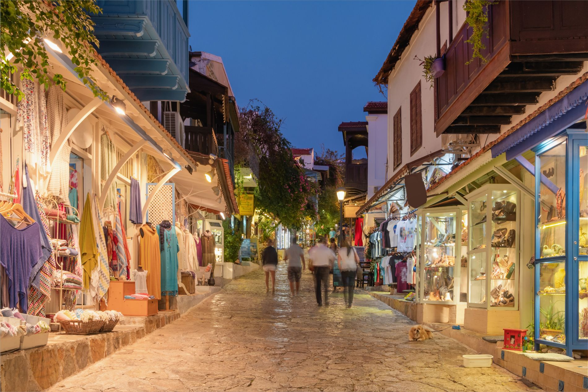 Street view in the Kas old town with boutique shops at evening. Kas Town is popular tourist destination in Turkey