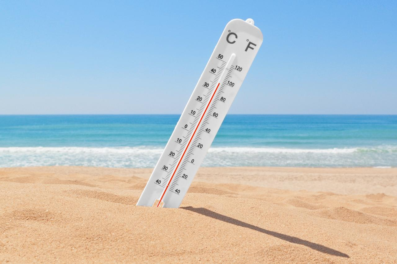 A thermometer on the beach