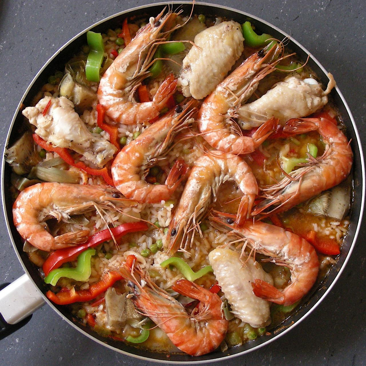 Spanish scampi and meat paella. It's actually not that difficult to make when you assist the Spanish chef who has a good family recipe.