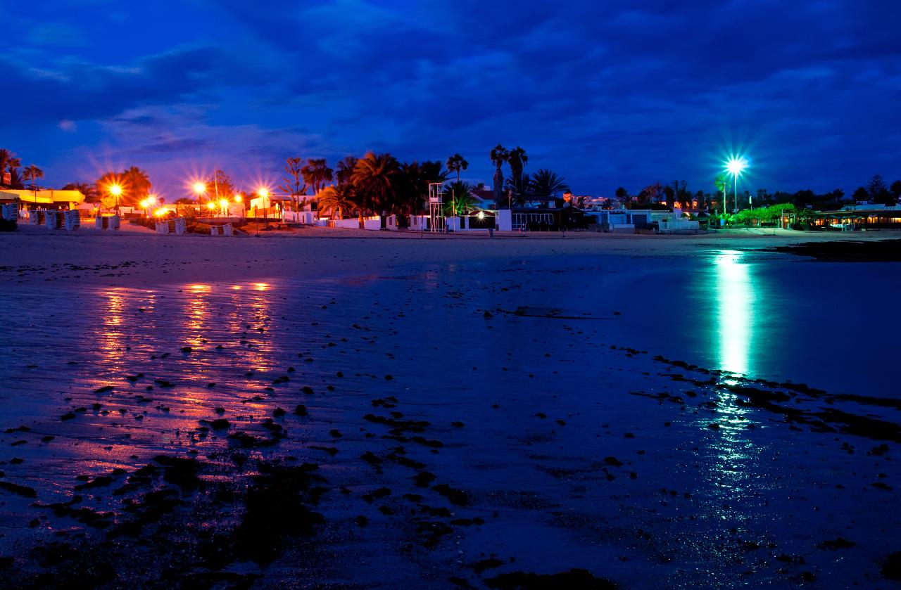 Wakiki beach at night, Corralejo, Fuerteventura, Canary islands, Spain