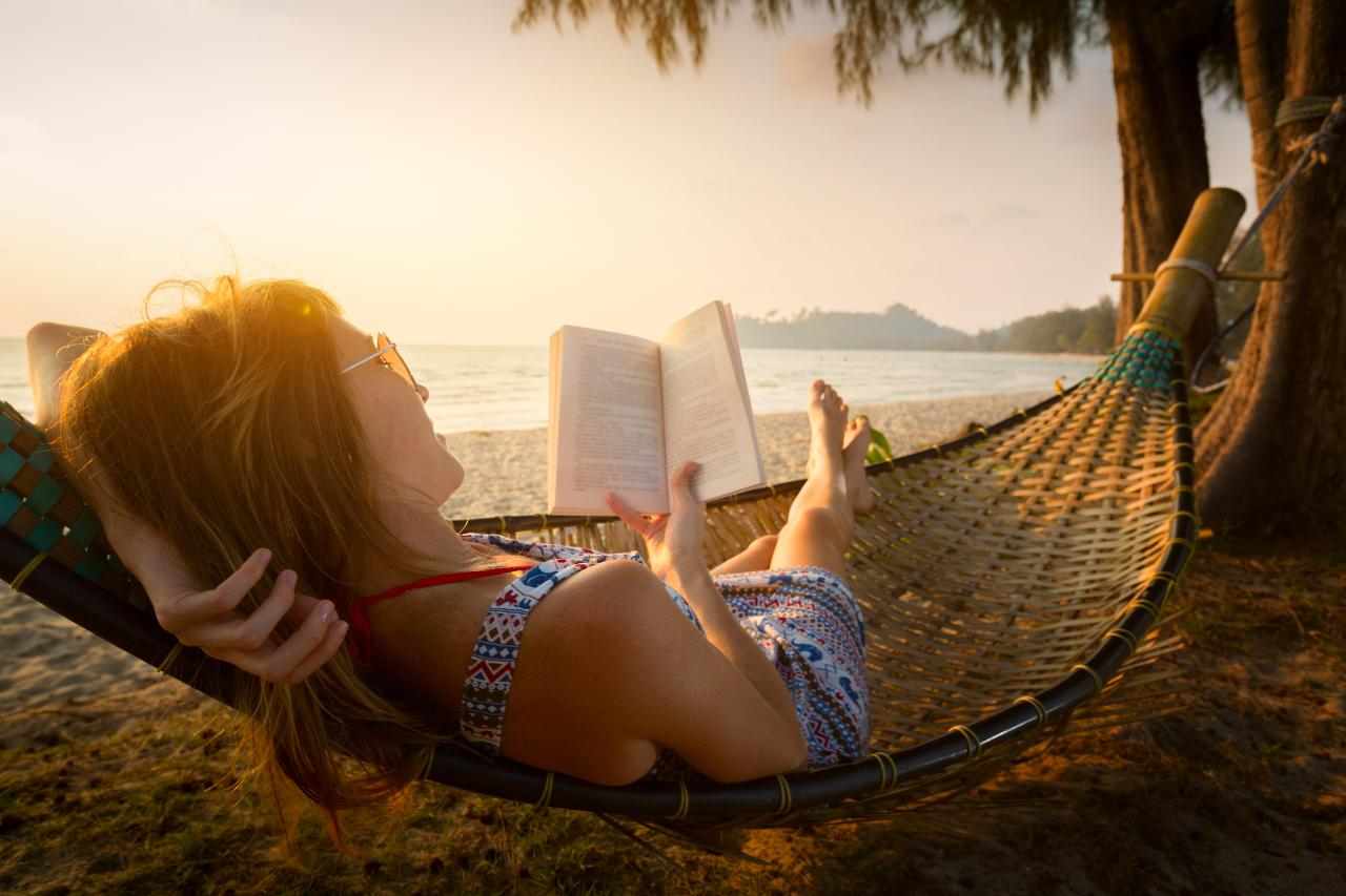 Hammock and book