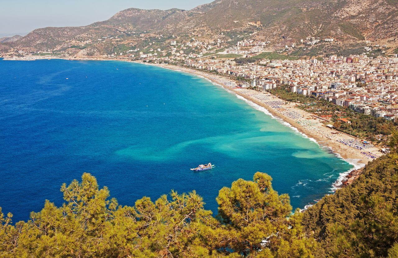 View of Kleopatra beach in Alanya, Turkey.