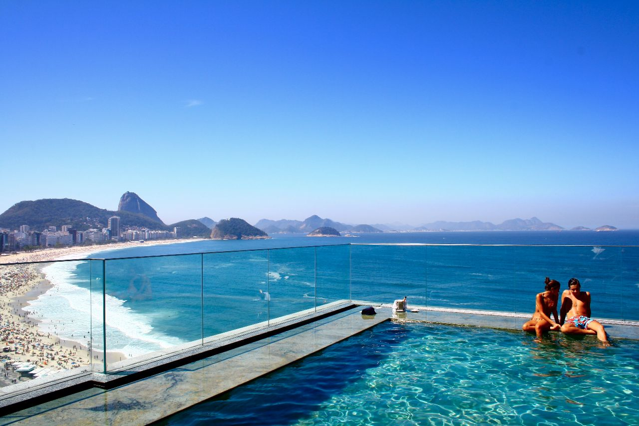 Coastal view from an infinity pool
