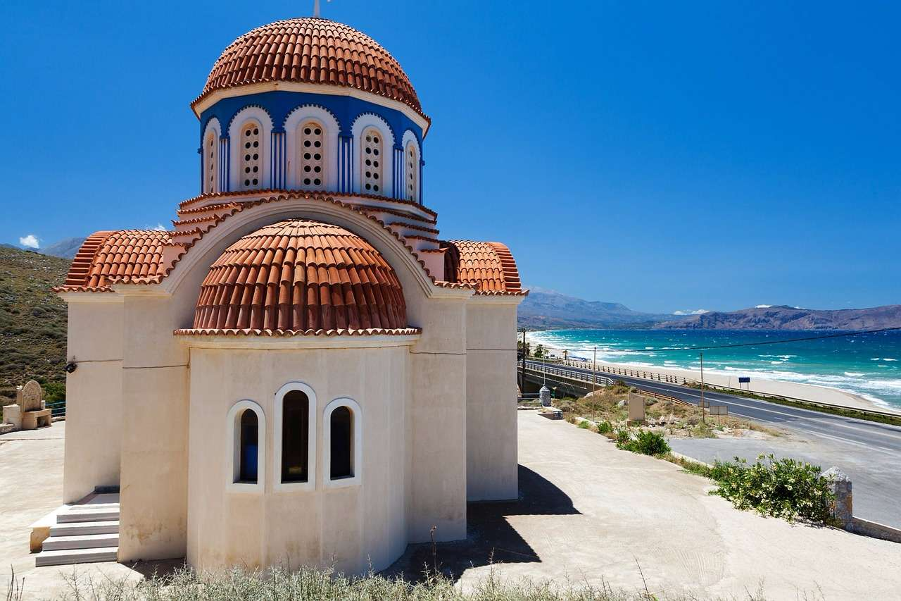 Church and beach in Greece