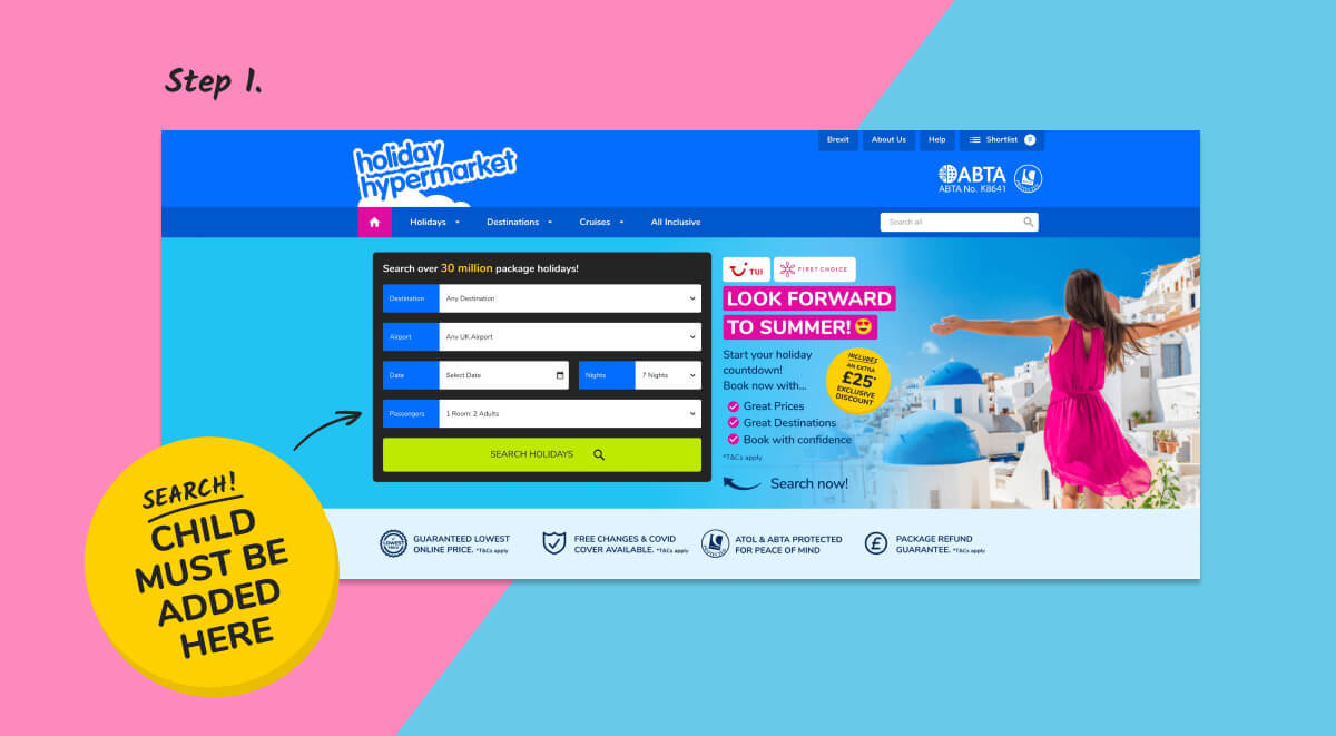 Image of desktop search process for free child place holidays