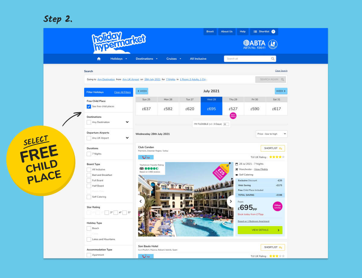 Image showing final search process for free child place holidays on desktop view