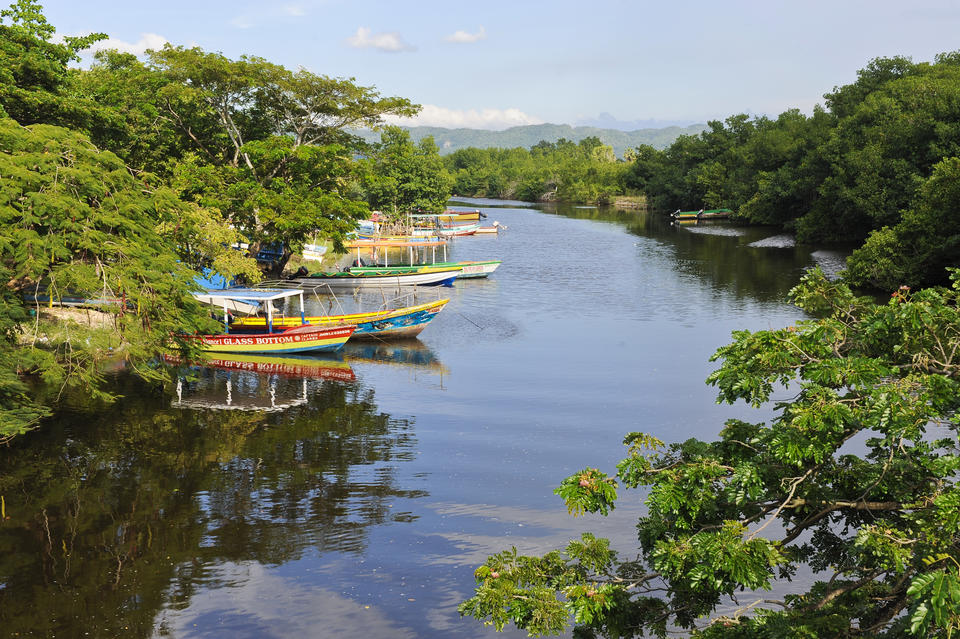 River with colourful boats in Jamaica