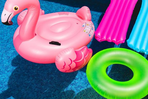 inflatables in a pool