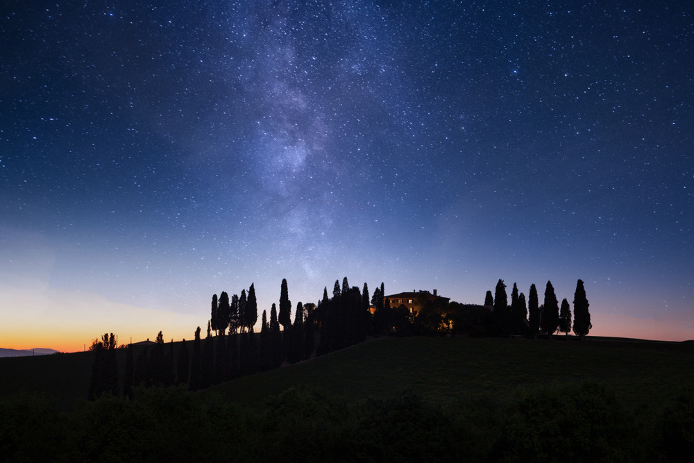 Views of a starry night in Tuscany