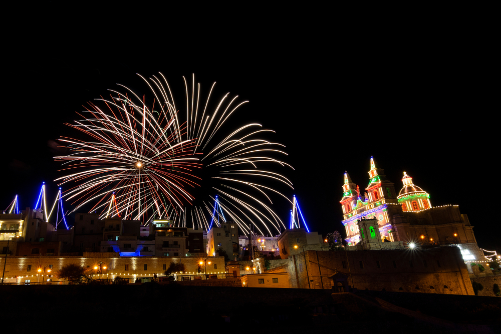 Fireworks at the town centre in Mellieha, Malta