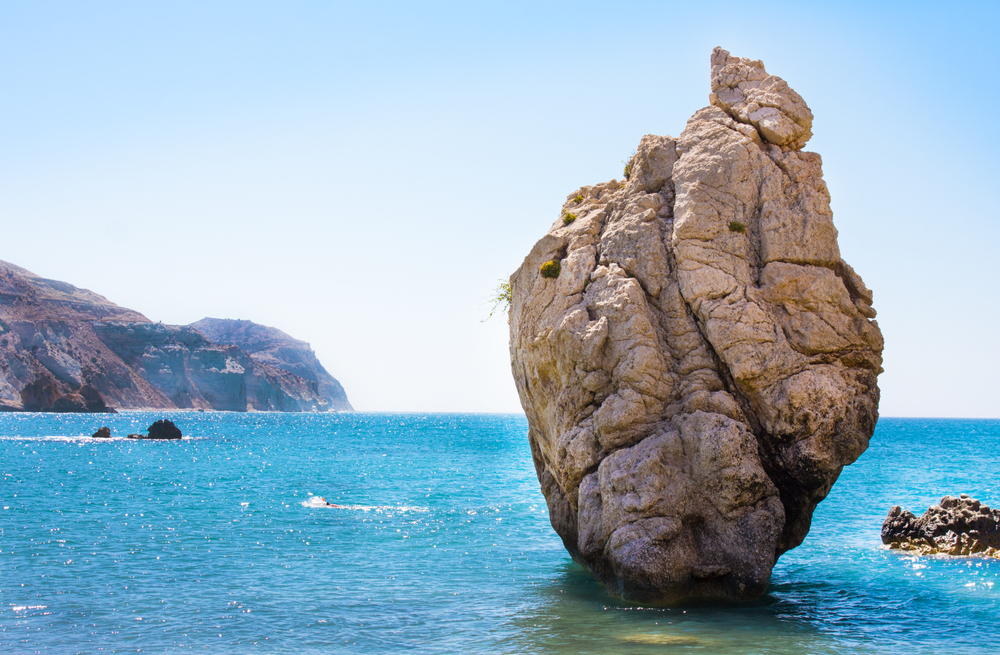 images of Aphrodites rock in sunny paphos.