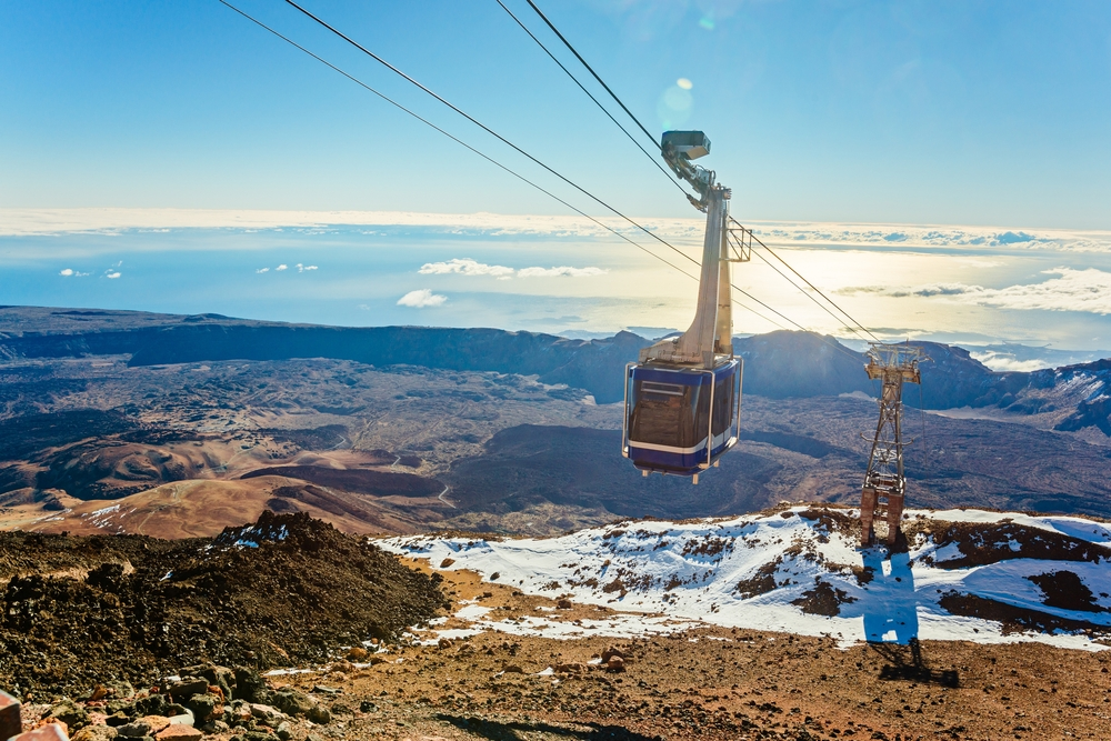 Cable cabin car on the top of volcano Teide. Tenerife. Canary Islands