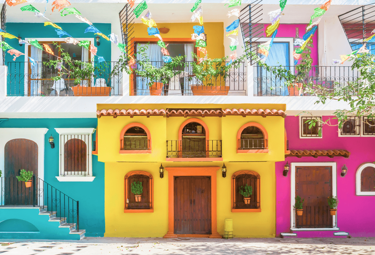 Colourful town on the pacific coast of Mexico